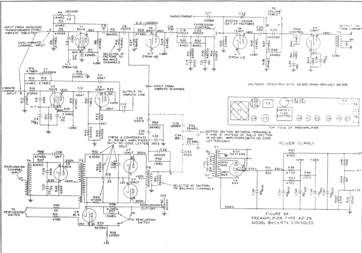 Hammond Schematics Here And Elsewhere On The Net At Amp T Phone Wiring Diagram Ao 28 Preamp For B 3 C A 100 Rt D